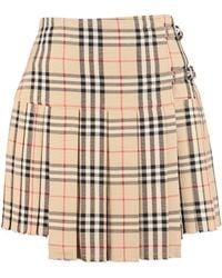 Burberry Pleated Mini Skirt - Natural