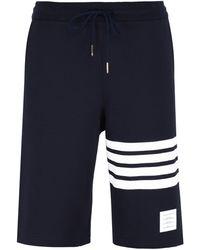 Thom Browne Shorts in felpa con dettaglio a righe - Blu