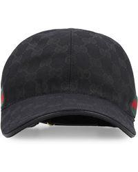 Gucci Cappello da baseball in canvas con monogramma gg supreme classic e fasce web - Nero