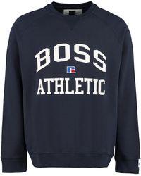 BOSS by HUGO BOSS Felpa girocollo in cotone con logo - x Russell Athletic - Blu