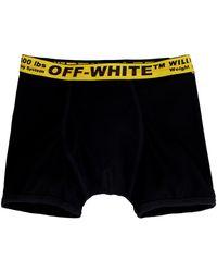 Off-White c/o Virgil Abloh Boxer in cotone con banda elastica logata - Nero