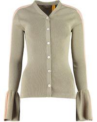 2 Moncler 1952 Ribbed Cotton Cardigan - Green