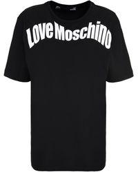 Love Moschino T-shirt in cotone con logo - Nero
