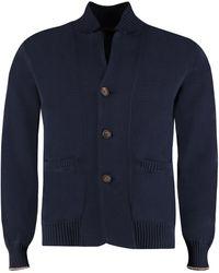 Brunello Cucinelli Buttoned Cotton Cardigan - Blue