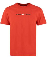 Tommy Hilfiger - T-shirt in cotone con logo - Lyst