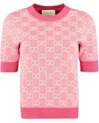 Gucci Jacquard Knit Top - Pink