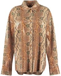 Stand Studio Dee Python Print Faux Leather Shirt - Brown