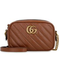 Gucci Marmont Quilted Leather Bag - Brown