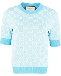 Gucci Jacquard Knit Top - Blue