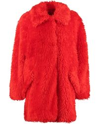 MSGM Faux Fur Coat - Red