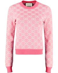 Gucci Wool-cotton Blend Crew-neck Pullover - Pink
