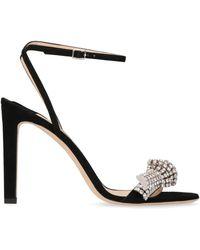 Jimmy Choo Thyra Embellished Suede Sandals - Black