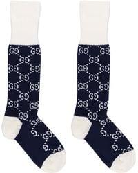 Gucci GG Jacquard Cotton-blend Socks - Blue
