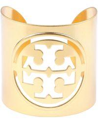 Tory Burch Miller Logo Detail Brass Cuff Bracelet - Metallic