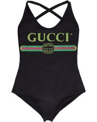 Gucci Logo Print One-piece Swimsuit - Black