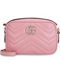 Gucci Camera-bag GG Marmont in pelle matelassé - Rosa