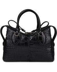 Tod's D-styling Crocodile Print Leather Handbag - Black