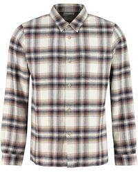 John Elliott Checked Cotton Shirt - Grey
