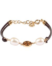 Tory Burch Miller Pearls And Logo Charm Leather Bracelet - Brown
