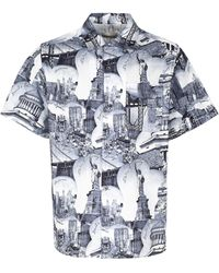 Buscemi Printed Cotton Shirt - Blue