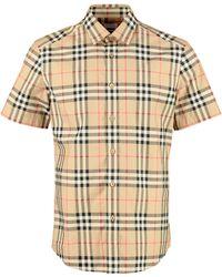 Burberry Camicia in cotone con maniche corte - Neutro