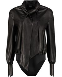 Pinko Adamo Faux Leather Bodysuit-blouse - Black