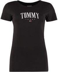 Tommy Hilfiger Logo Print Cotton T-shirt - Black