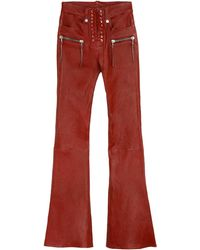 Unravel Project Pantaloni flared in pelle effetto vintage - Rosso