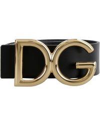 Dolce & Gabbana Leather Belt With Dg Logo - Nero