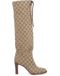 Gucci Leather-trimmed Coated-canvas Knee Boots - Natural
