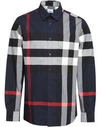 Burberry Camicia in popeline motivo check - Multicolore