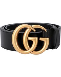 Gucci Leather Belt With Double G Buckle 2cm - Black