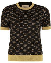 Gucci Jacquard Knit Top - Black
