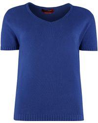 Max Mara Studio Matera Knitted T-shirt - Blue
