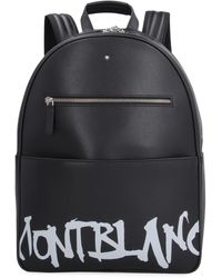 Montblanc Men's Saffiano Leather Graffiti Logo Backpack - Black