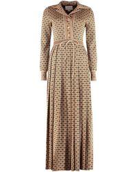 Gucci Knitted Jacquard Lamé Dress - Natural