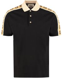 Gucci GG Embroidered Stretch-cotton Polo Shirt - Black