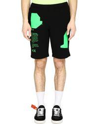 Off-White c/o Virgil Abloh Track-pants corti in cotone stretch - Nero