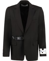 Off-White c/o Virgil Abloh Single-breasted Virgin Wool Jacket - Black