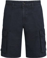 Stone Island Cotton Cargo Bermuda Shorts - Blue
