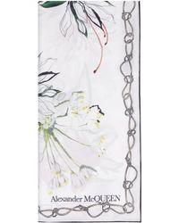 Alexander McQueen Printed Silk Scarf - White