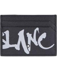 Montblanc Men's Saffiano Leather Graffiti Logo Card Case - Black
