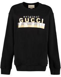 Gucci Felpa in cotone con stampa - Nero