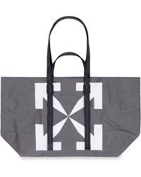 Off-White c/o Virgil Abloh Logo Detail Tote Bag - Grey