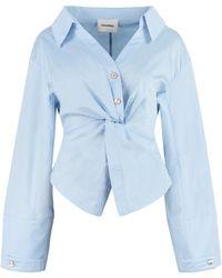 Nanushka Idris Stretch Poplin Shirt - Blue