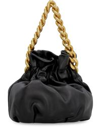 STAUD The Grace Chain Leather Bucket Bag - Black