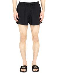 Marcelo Burlon Logo-embroidered Swim Shorts - Black