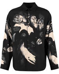 424 Camicia in viscosa stampata - Nero