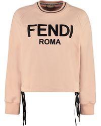 Fendi Felpa in cotone con logo - Rosa