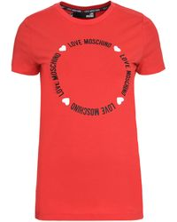 Love Moschino T-shirt in cotone con logo - Rosso